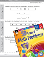 Number and Operations in Base Ten Leveled Problems: Finish the Equations