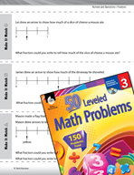 Number and Operations in Base Ten Leveled Problems: Fractions and Number Lines