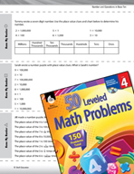 Number and Operations in Base Ten Leveled Problems: Place Value