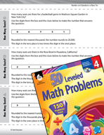 Number and Operations in Base Ten Leveled Problems: Place Value, and Rounding