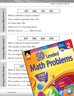Number and Operations in Base Ten Leveled Problems: Write a Math Story