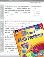 Number and Operations in Base Ten Leveled Problems: Write a Story with Numbers