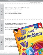 Number and Operations with Fractions Leveled Problems: Compare Fractions
