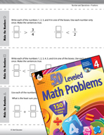 Number and Operations with Fractions Leveled Problems: Compare and Create