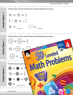 Number and Operations with Fractions Leveled Problems: Solving With Variables