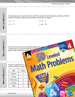 Number and Operations with Fractions Leveled Problems: Subtracting Mixed Numbers