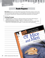 Of Mice and Men Reader Response Writing Prompts (Great Works Series)
