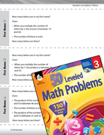 Operations and Algebraic Thinking Leveled Problems: Missing Factors