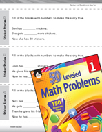 Operations in Base Ten Leveled Problem: Addition and Subtraction - Sticker Stories