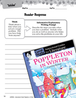 Poppleton in Winter Reader Response Writing Prompts (Great