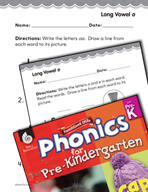 Pre-Kindergarten Foundational Phonics Skills: Long Vowel o