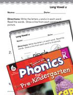 Pre-Kindergarten Foundational Phonics Skills: Long Vowel u