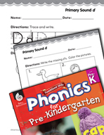 Pre-Kindergarten Foundational Phonics Skills: Primary Sound d