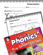 Pre-Kindergarten Foundational Phonics Skills: Primary Sound y