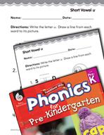 Pre-Kindergarten Foundational Phonics Skills: Short Vowel u