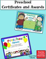 Preschool Certificates and Awards by Karen's Kids