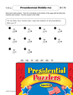 Presidential Puzzlers - Math Riddles
