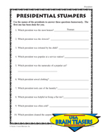 Presidents Critical Thinking Activities and Brain Teasers