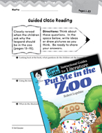 Put Me in the Zoo Close Reading and Text-Dependent Questions (Great Works Series)