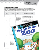 Put Me in the Zoo Leveled Comprehension Questions (Great Works Series)