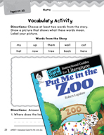 Put Me in the Zoo Vocabulary Activities (Great Works Series)