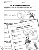 Reading Informational Text: Matching Pictures and Sentences Practice