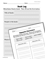 Reading Literature: Book Log and Characters Practice