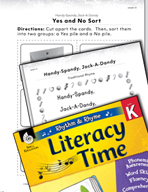 Rhythm and Rhyme Literacy Time: Activities for Handy-Spandy, Jack-A-Dandy