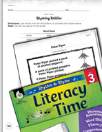 Rhythm and Rhyme Literacy Time: Activities for Peter Piper