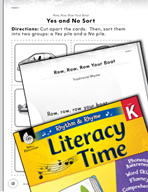 Rhythm and Rhyme Literacy Time: Activities for Row, Row, Row Your Boat