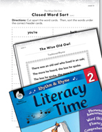 Rhythm and Rhyme Literacy Time: Activities for The Wise Old Owl