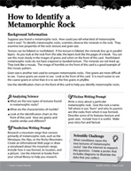 Rocks and Minerals Inquiry Card - How to Identify a Metamorphic Rock