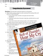 Roll of Thunder, Hear My Cry Comprehension Assessment (Great Works Series)