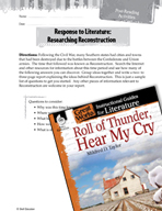 Roll of Thunder, Hear My Cry Post-Reading Activities (Great Works Series)