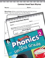 Second Grade Foundational Phonics Skills: Common Vowel Team Rhymes