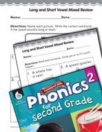Second Grade Foundational Phonics Skills: Long and Short Vowel Mixed Review