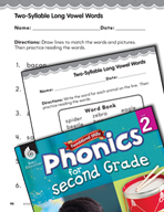 Second Grade Foundational Phonics Skills: Two-Syllable Long Vowel Words