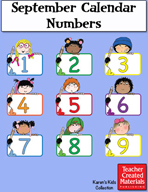 September Calendar Numbers by Karen's Kids