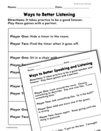 Speaking and Listening: Be a Great Listener Practice