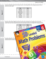 Statistics and Probability Leveled Problems: Find the Mean
