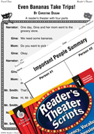 Summarizing-Even Bananas Take Trips! Reader's Theater Script and Lesson