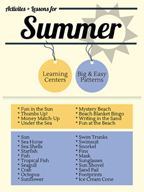 Summer Activities and Patterns for Grades PK-2