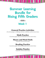 Summer Learning Bundle for Rising Fifth Graders - Week 1