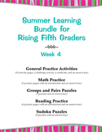 Summer Learning Bundle for Rising Fifth Graders - Week 4