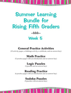 Summer Learning Bundle for Rising Fifth Graders - Week 5