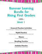 Summer Learning Bundle for Rising First Graders - Week 1
