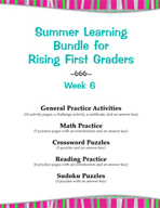Summer Learning Bundle for Rising First Graders - Week 6