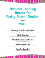 Summer Learning Bundle for Rising Fourth Graders - Week 1