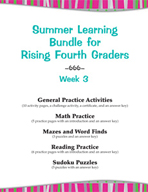 Summer Learning Bundle for Rising Fourth Graders - Week 3