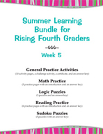 Summer Learning Bundle for Rising Fourth Graders - Week 5